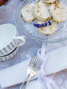 Sweden, Lavender shortbreads on cake standの写真素材 [FYI02201483]