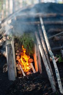 Sweden, Vastmanland, Bergslagen, Burning fire and logs in kilnの写真素材 [FYI02201553]