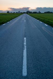 Sweden, Oland, Torngard, Asphalt road going through green meadowの写真素材 [FYI02201732]