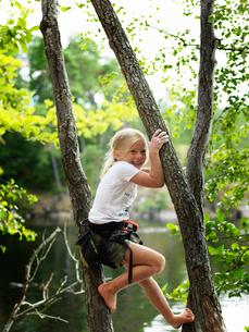 Sweden, Ostergotland, Agelsjon, Smiling girl (8-9) climbing treeの写真素材 [FYI02201837]