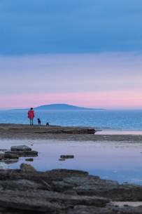 Sweden, Oland, Woman with dog standing on shoreの写真素材 [FYI02201889]
