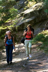 Sweden, Ostergotland, Agelsjon, Two women hiking in forest with baby boy (2-3)の写真素材 [FYI02201908]