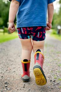 Sweden, Little boy (2-3) walking in rubber bootsの写真素材 [FYI02202065]