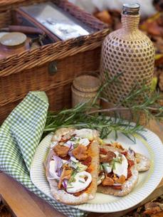 Sweden, Mini pizzas on paper plate near picnic basketの写真素材 [FYI02202189]