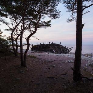 Sweden, Oland, Kauniainen, Wooden ship on beachの写真素材 [FYI02202441]