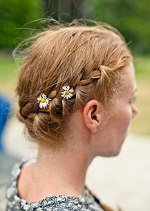 Sweden, Oland, Woman with braided hairの写真素材 [FYI02202590]