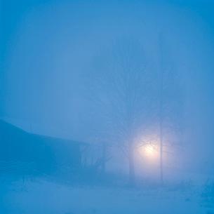 Sweden, Dalama, Orsa, Fryksas, Farm buildings at night, Christmasの写真素材 [FYI02202876]