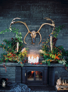 Sweden, Antlers hanging over luxurious fireplaceの写真素材 [FYI02202883]