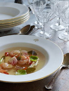 Sweden, Shrimp soup in bowlの写真素材 [FYI02202915]