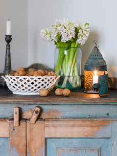 Sweden, Hyacinths, candles and hazelnuts on wooden cabinetの写真素材 [FYI02202945]