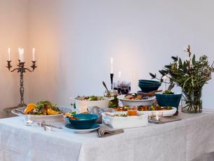 Sweden, Elegant dining tableの写真素材 [FYI02202952]