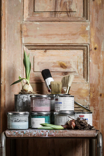 Sweden, Paint cans and onion bulb on tableの写真素材 [FYI02203053]