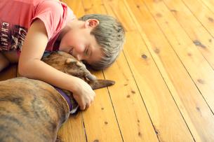 Australia, Boy (6-7) lying on hardwood floor with boxer dogの写真素材 [FYI02203131]