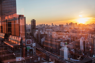 Japan, Tokyo, Shibuya, View of city at sunset from windowの写真素材 [FYI02203289]