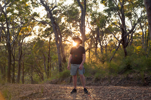 Australia, New South Wales, Pearl beach, Senior tourist in forest at sunsetの写真素材 [FYI02203333]