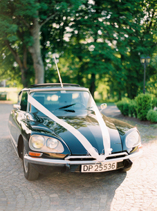 Sweden, Halland, Vintage car decorated with wedding ribbonsの写真素材 [FYI02203366]