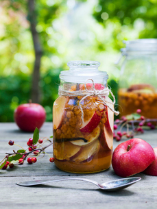 Sweden, Preserved and fresh apples on tableの写真素材 [FYI02203564]