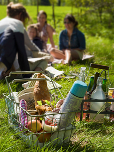 Sweden, Skane, Wire basket with food and thermos, women sitting on grass in backgroundの写真素材 [FYI02203617]