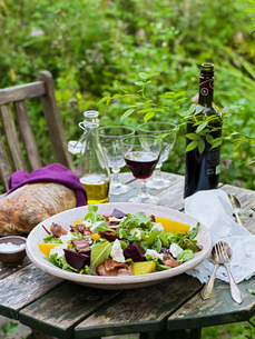 Sweden, Goat cheese salad, bread, olive oil, salt, cutlery and wine on tableの写真素材 [FYI02203649]