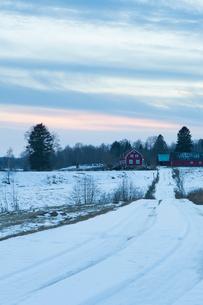 Sweden, Skane, Vanga, Farm in winterの写真素材 [FYI02203658]