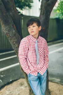 Sweden, Blekinge, Karlskrona, Portrait of boy (8-9) in checked shirtの写真素材 [FYI02204020]