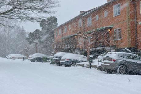 Sweden, Uppland, Lidingo, Residential district during snow-stormの写真素材 [FYI02204146]
