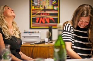Sweden, Smiling women in roomの写真素材 [FYI02204187]