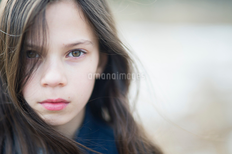 Sweden, Portrait of girl (10-11) with brown hairの写真素材 [FYI02204223]