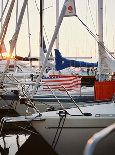 Sweden, Bohuslan, Fjallbacka, Sailboats moored at harbor at sunsetの写真素材 [FYI02204252]