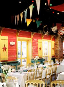 Sweden, Halland, Varberg, Decorated banquet roomの写真素材 [FYI02204287]