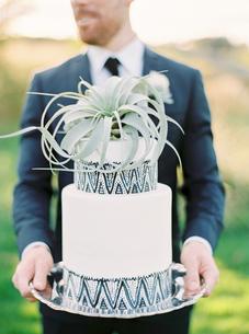 Sweden, Groom holding wedding cakeの写真素材 [FYI02204306]