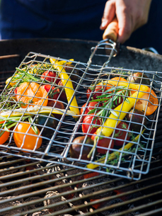 Sweden, Vegetables grilled on barbeque grillの写真素材 [FYI02204408]