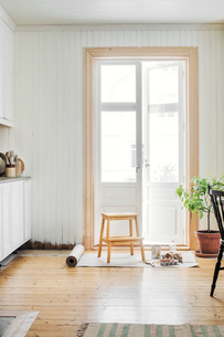 Sweden, Stool and paintbrush in kitchenの写真素材 [FYI02204797]