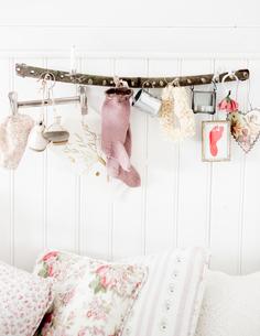 Sweden, Decoration hanging over bedの写真素材 [FYI02204798]