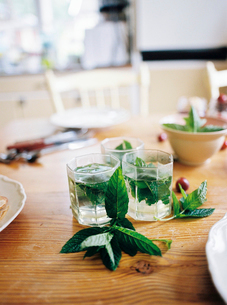 Sweden, Mint tea and leaves on wooden tableの写真素材 [FYI02204887]