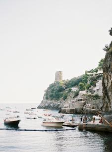 Italy, Amalfi, Positano, Yachts in marinaの写真素材 [FYI02205025]
