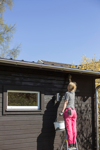 Sweden, Woman painting wooden houseの写真素材 [FYI02205058]