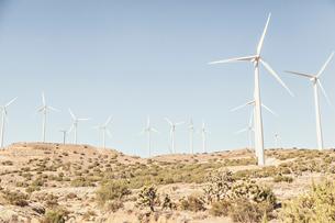 USA, California, Wind turbines in bushy desertの写真素材 [FYI02205483]