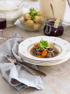 Sweden, Beef stew in soup bowlの写真素材 [FYI02205506]