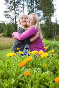 Sweden, Medelpad, Two girls (10-11, 12-13) standing in yellow flowers and huggingの写真素材 [FYI02205528]