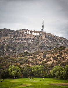 USA, California, Los Angeles, Hollywood, Sign in Hollywood Hillsの写真素材 [FYI02205620]