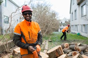 Sweden, Sodermanland, Portrait of smiling arboristの写真素材 [FYI02205783]