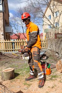 Sweden, Sodermanland, Arborist cutting logの写真素材 [FYI02205891]