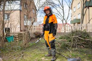 Sweden, Sodermanland, Portrait of standing arboristの写真素材 [FYI02206208]