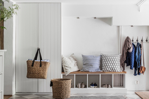 Sweden, Entrance hall with white furnitureの写真素材 [FYI02206232]
