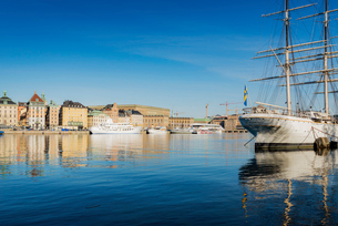 Sweden, Stockholm, Skeppsholmen, Ship in harborの写真素材 [FYI02206551]