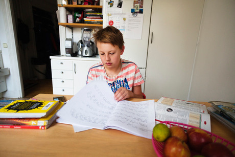 Sweden, Boy (12-13) sitting and studyingの写真素材 [FYI02207036]