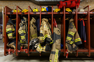 Protective clothing in a fire station in Swedenの写真素材 [FYI02207136]