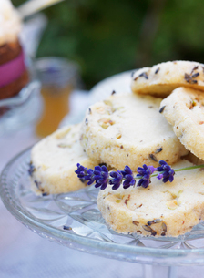 Sweden, Lavender cookies on cake standの写真素材 [FYI02207144]