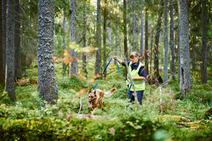Sweden, Uppland, Rison, Volunteer with dog helping emergency services find missing peopleの写真素材 [FYI02207181]